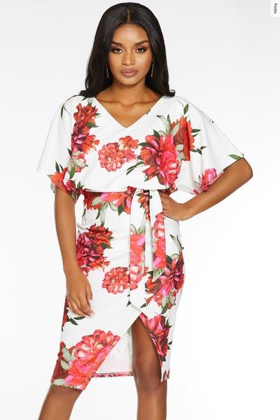Petite Red White Floral Midi Dress